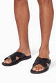 thumbnail of Black Cross-Over Logo Sandals   #1