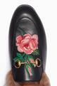 thumbnail of Black Rose-Appliquéd Leather Princetown Loafers #3
