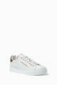 thumbnail of White & Gold Pearl-Detail Portofino Sneakers    #2