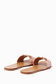 thumbnail of Light-Pink Fringe Leather Horsebit Slides #2