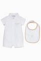 thumbnail of White & Beige Bodysuit & Bib, Set Of 2       #0