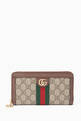 thumbnail of Beige Ophidia GG Zip Around Wallet    #0
