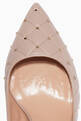 thumbnail of Light-Pink Rockstud Spike Court Quilted Pumps  #3