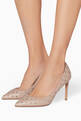 thumbnail of Light-Pink Rockstud Spike Court Quilted Pumps  #1