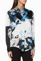 thumbnail of Black, Blue & White Floral-Print Shirt          #0