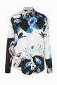 thumbnail of Black, Blue & White Floral-Print Shirt          #4
