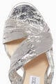 thumbnail of Silver Metallic Leather Abril Sandals #3