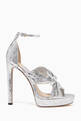 thumbnail of Silver Metallic Leather Abril Sandals #0