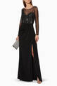 thumbnail of Black Long-Sleeve Embellished Gown #1