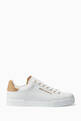 thumbnail of White Classic Logo Leather Sneakers   #0