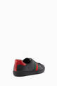 thumbnail of Black Leather Ace Web Strap Sneakers #2
