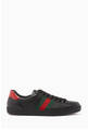 thumbnail of Black Leather Ace Web Strap Sneakers #0