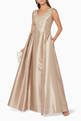 thumbnail of Beige Embellished Sleeveless Gown #1