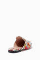 thumbnail of White Floral-Print Princetown Slippers #2