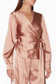 thumbnail of Pink Satin Tie-Front Top             #0