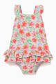 thumbnail of Orange Tropical Print Frill Swimsuit  #0