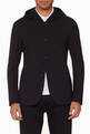 thumbnail of Black Textured Hooded Blazer #0