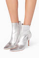 thumbnail of Silver Leather Point-Toe Booties #1