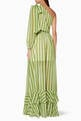 thumbnail of Green Striped One-Shoulder Maxi Dress #2