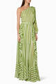 thumbnail of Green Striped One-Shoulder Maxi Dress #0
