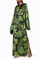 thumbnail of Green Palm Print Liliana Silk Dress   #1