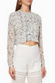thumbnail of White Floral-Print Posey Cropped Shirt #0