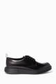 thumbnail of Black Opaque Leather Derby Shoes #0