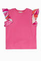 thumbnail of Fuchsia-Pink Ruffled-Sleeve T-Shirt      #0