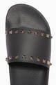 thumbnail of Valentino Garavani Black Rubber Rockstud Slides       #3