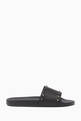 thumbnail of Valentino Garavani Black Rubber Rockstud Slides       #0