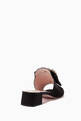 thumbnail of Black Pearl Bow Buckle Silk Mules  #2