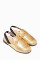 thumbnail of Gold Princetown Leather Slippers   #0