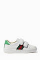 thumbnail of White Velcro Strap Leather Sneakers #1