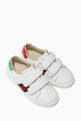thumbnail of White Velcro Strap Leather Sneakers #0