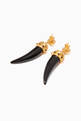 thumbnail of Gold & Black Onyx Lioness Earrings    #2