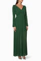 thumbnail of Dark-Green Chiffon Maxi Dress       #0