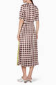 thumbnail of Creamy-Red Checked Abygail Printed Midi Dress          #2