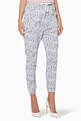thumbnail of Grey All-Over Shoelace Logo Print Pants  #0
