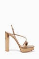 thumbnail of Mirror-Leather Strappy Platform Sandals    #0