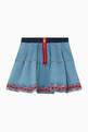 thumbnail of Embroidered Pleated Denim Skirt  #1