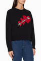 thumbnail of Hearts Intarsia Wool Blend Distressed Sweater  #0