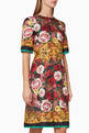 thumbnail of Silk Brocade Floral Midi Dress #0