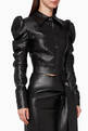 thumbnail of Puffy-Sleeved Faux Leather Jacket    #0