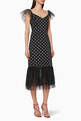 thumbnail of Marwa Polka-Dot Tulle Midi Dress  #0