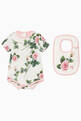 thumbnail of Rose-Print Babysuit & Bib Set    #0