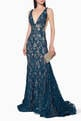thumbnail of Plunging Sequin Lace Gown      #1