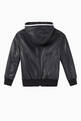 thumbnail of EA Tape Hooded Leather Bomber Jacket        #2