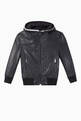 thumbnail of EA Tape Hooded Leather Bomber Jacket        #0