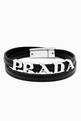 thumbnail of Logo Lettering Double Wrap Bracelet in Saffiano Leather     #0