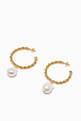 thumbnail of Twisted Wires Pearl Hoop Earrings in 18kt Gold-Plated Brass #2